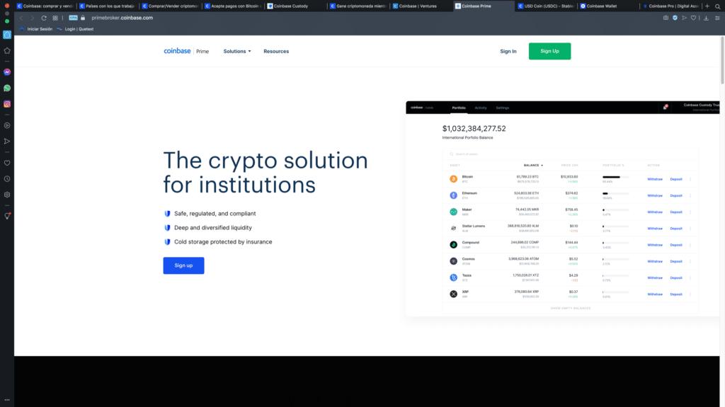 Coinbase Prime instituciones criptomonedas