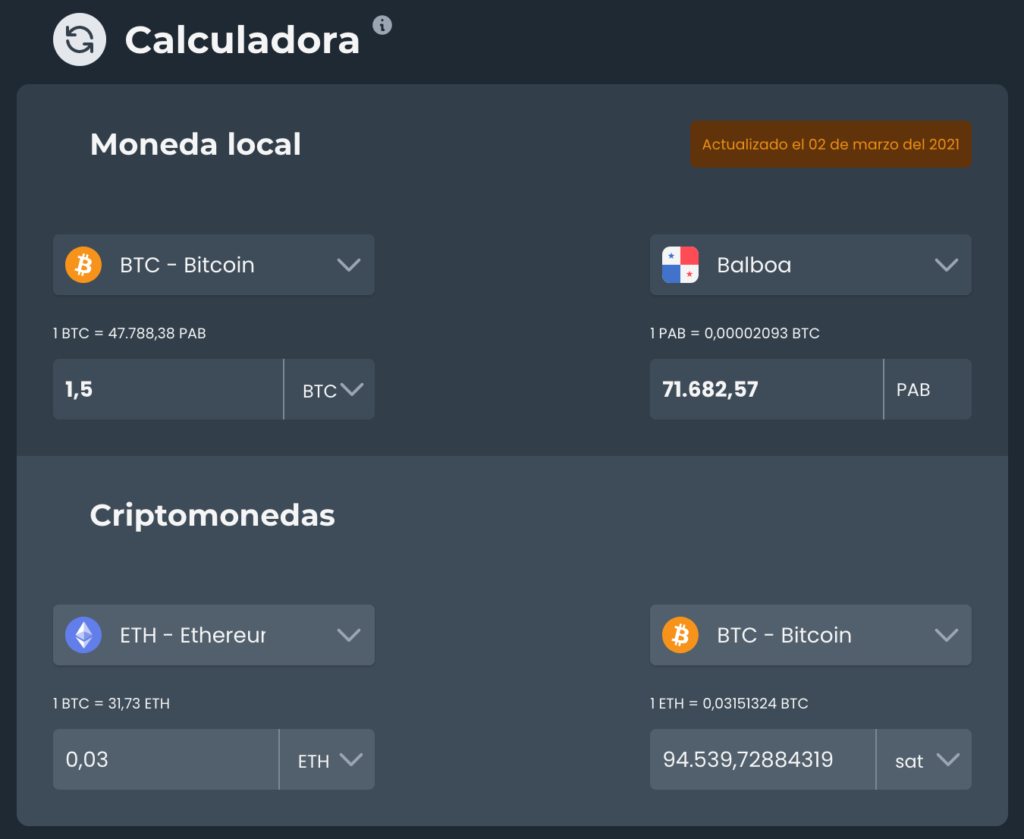 Calculadora de cambio entre Bitcoin Ethereum y monedas nacionales