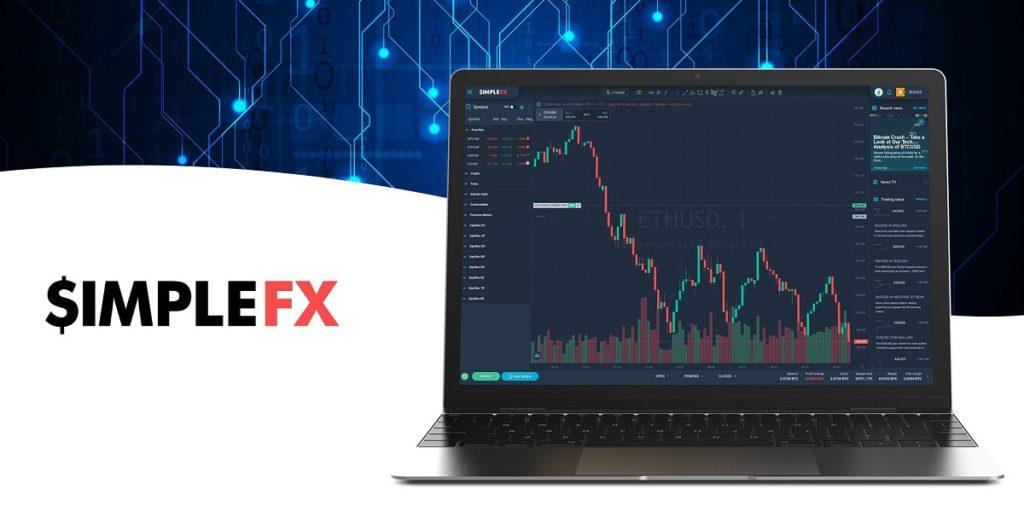 Laptop con gráfico de precios en la plataforma de Trading de SimpleFX