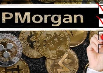 Criptomonedas con letrero de JP Morgan y mano de empresario rellenando encuesta.