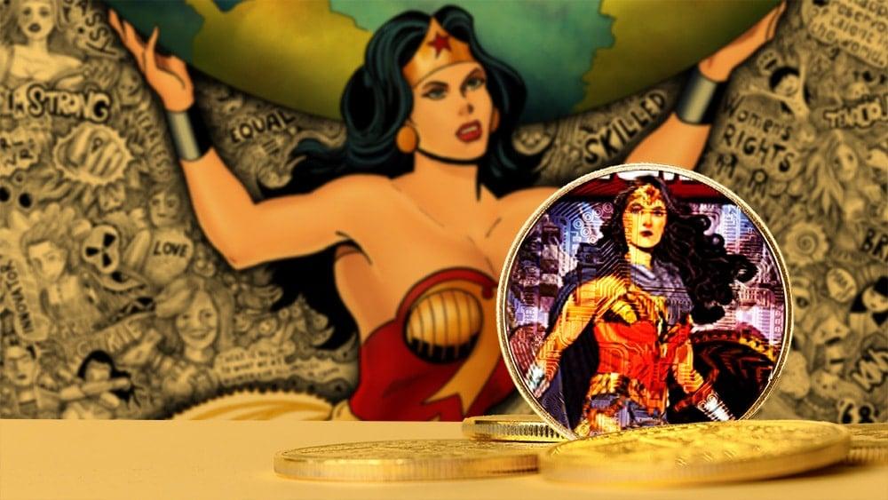 token coleccionable mujer maravilla DC comics