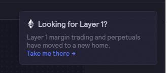 Al entrar al modulo antiguo de los contratos perpetuo los usuarios veran una alerta en la que se les anuncia que el comercio se a movido un nuevo hogar. Fuente dYdX.