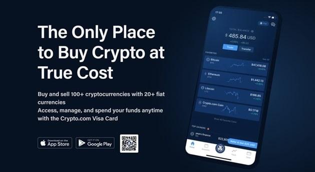 Teléfono móvil con app de Crypto.com abierta y cotización de criptomonedas en pantalla