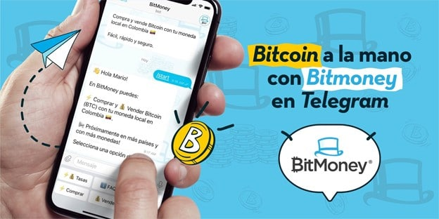 Teléfono móvil con app BitMoney abierta en pantalla