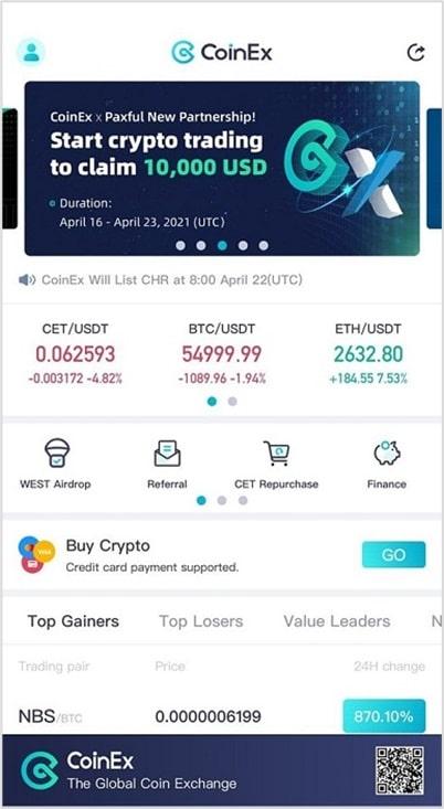 App movil de CoinEx para iOS y Android