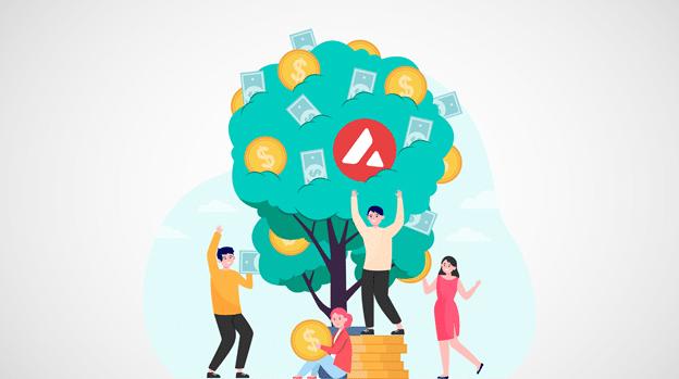 Personas tomando dinero como frutos de un árbol