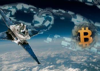 Vista del planeta tierra desde el espacio, satélite, blockchain y bitcoin en órbita.