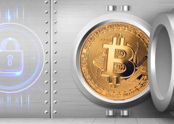 Bóveda con moneda bitcoin y candado cerrado