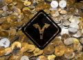 Fondo de monedas de ethereum y señal de bifurcación.