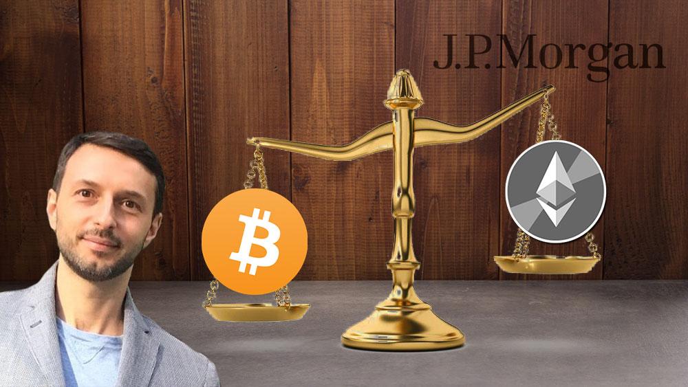 Balanza con bitcoin y Nick Gianbruno de un lado y ether y JP Morgan del otro.