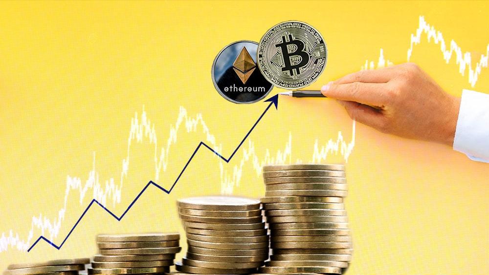 ether bitcoin alza grafico