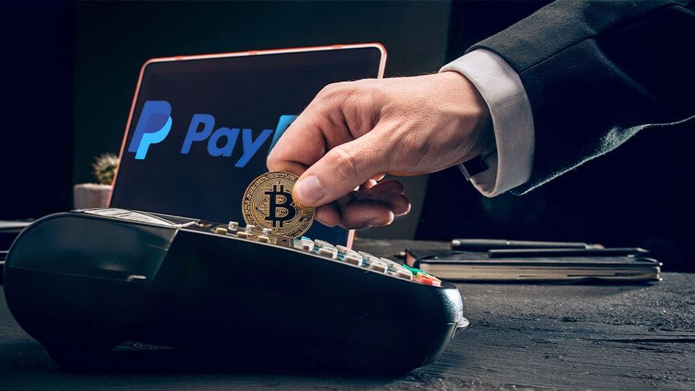 Medio de pago con bitcoin y logo de Paypal.