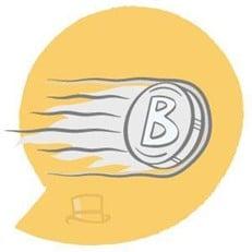Moneda de Bitcoin volando rauda y veloz.