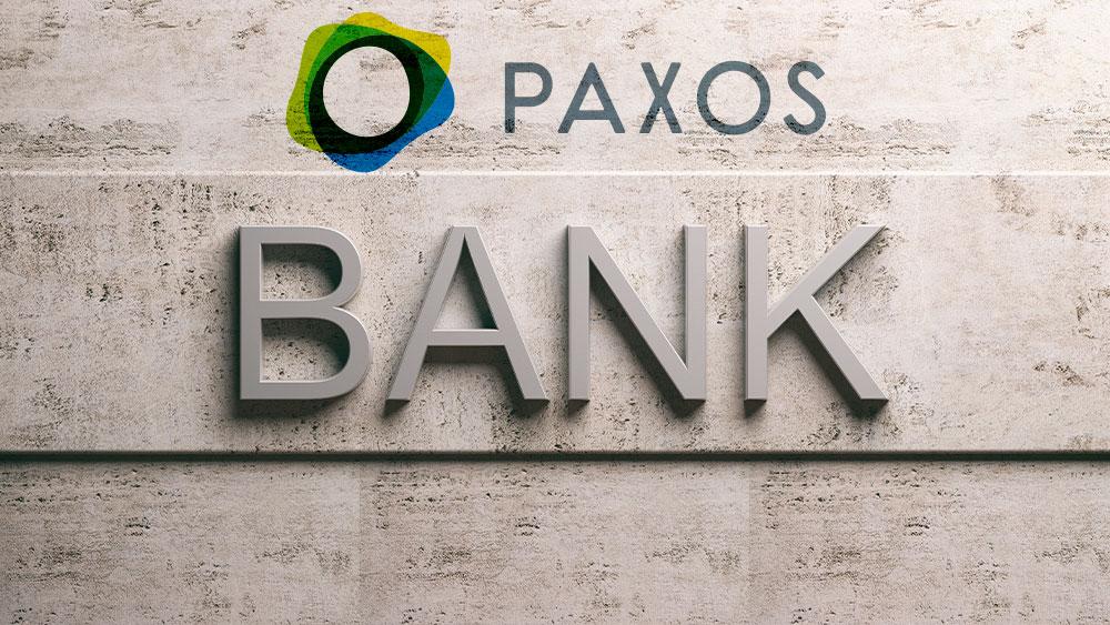 Cartel de banco sobre pared de mármol y logo de Paxos. Composición por CriptoNoticias Fuentes:  rawf8 /  elements.envato.com   ; paxos /  paxos.com .