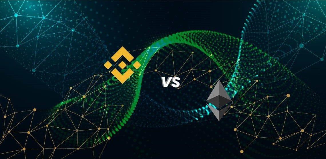 Logos de Binance y Ethereum y redes. Composición por CriptoNoticias. Fuentes: starline / freepik.es ; Seek Logo /  seeklogo.com  ; Seek Logo /  seeklogo.com
