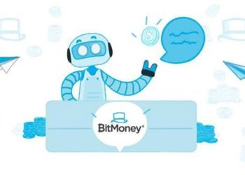 Robot de trading de bitcoin con logos de Telegram volando