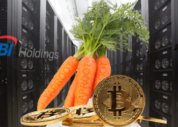 Mina de SBI Holdings y el logo, con zanahorias representando a taproot y bitcoins