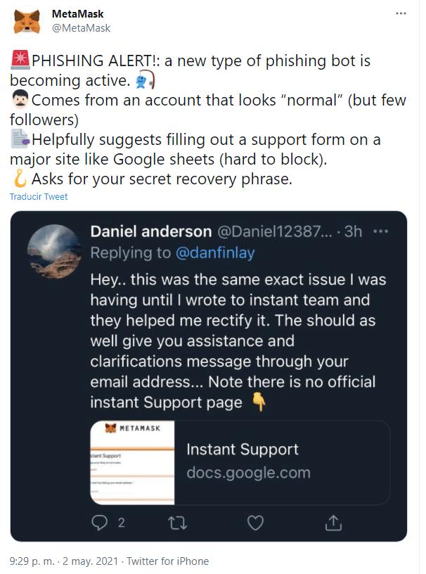 Segun MetaMask el bot trata de conducir a los usuarios a un supuesto portal de soporte instantaneo