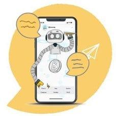 Robot de trading de bitcoin en pantalla de teléfono móvil.