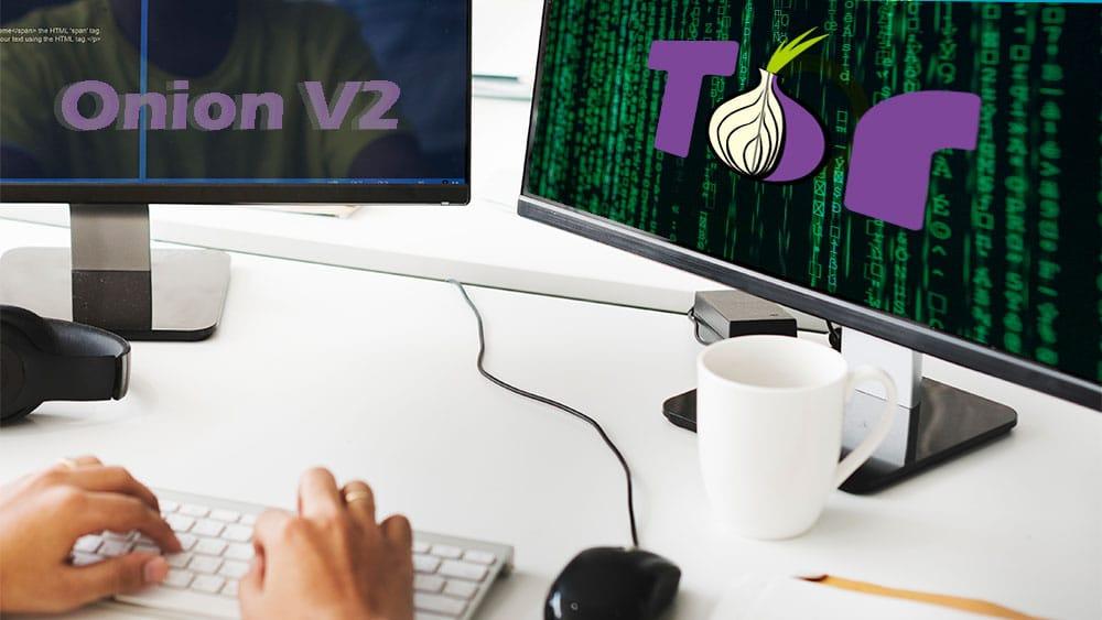 Persona frente a dos pantallas con logo de Tor y texto de Onion V2. Composición por CriptoNoticias Fuentes:  Rawpixel  /  elements.envato.com  ;  Tor /  wikimedia.org  ;  markusspiske  /  pexels.com .