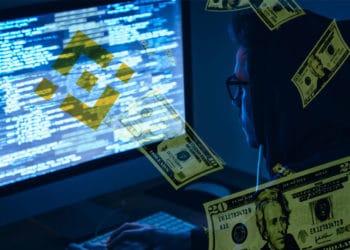 Hacker con logo de Binance y dólares.
