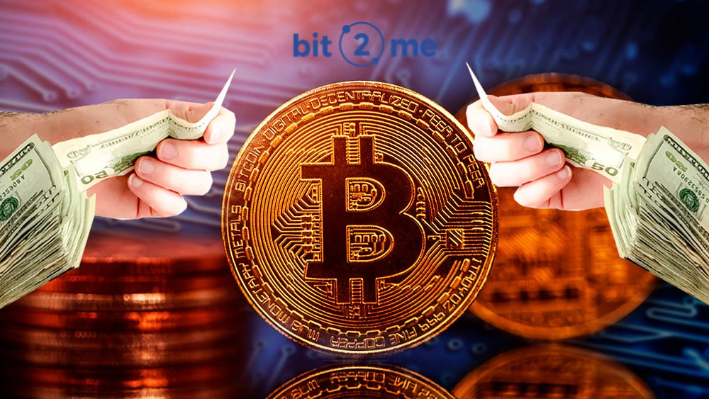 Bitcoin con manos ofreciendo dólares y logo de Bit2me.