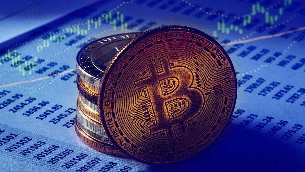 Bitcoin con gráfico en alza.