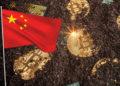 Minería de bitcoin y bandera China.