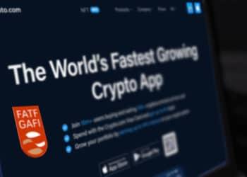 Pantalla con el home de crypto.com y logo de GAFI