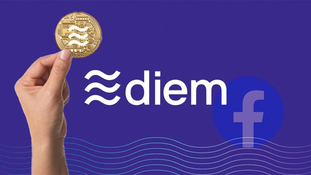Logo de Diem y Facebook con mano sosteniendo un Diem.