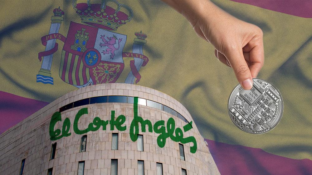 Edificio d El Corte Inglés, bandera de España en el cielo y mano sosteniendo token.