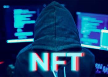 """Hacker con """"NFT"""" en el frente. Composición por CriptoNoticias. Rawpixel / elements.envato.com"""