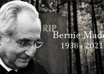 Bernie Madoff en frente de lápida en cementerio. Composición por CriptoNoticias. Stuart Ramson / npr.org; mrdoomits / elements.envato.com.