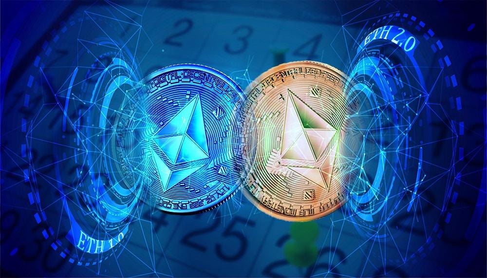Monedas de ethereum saliendo de aros digitales se fusionan con calendario en el fondo. Composición por CriptoNoticias. Slon.pics / slon.pics; Starline / freepik.com; Slon.pics / slon.pics; BrianAJackson / elements.envato.com.