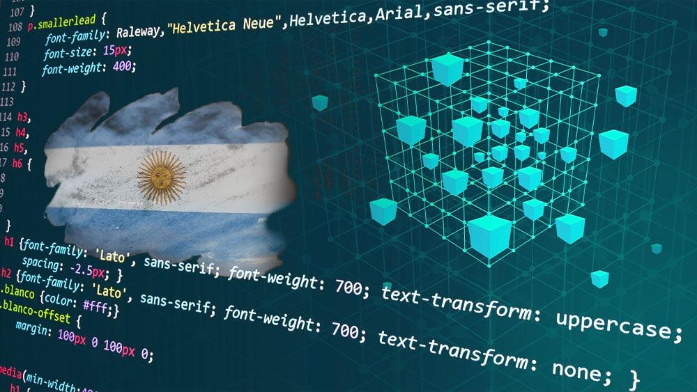 Cadena de blockchain con códigos y bandera de Argentina.
