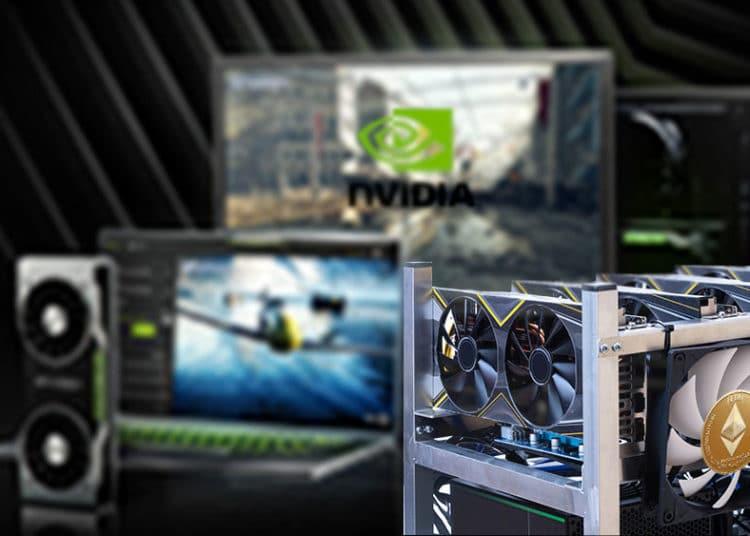 GPU de minar con ether y de gamer con logo de nvidia.
