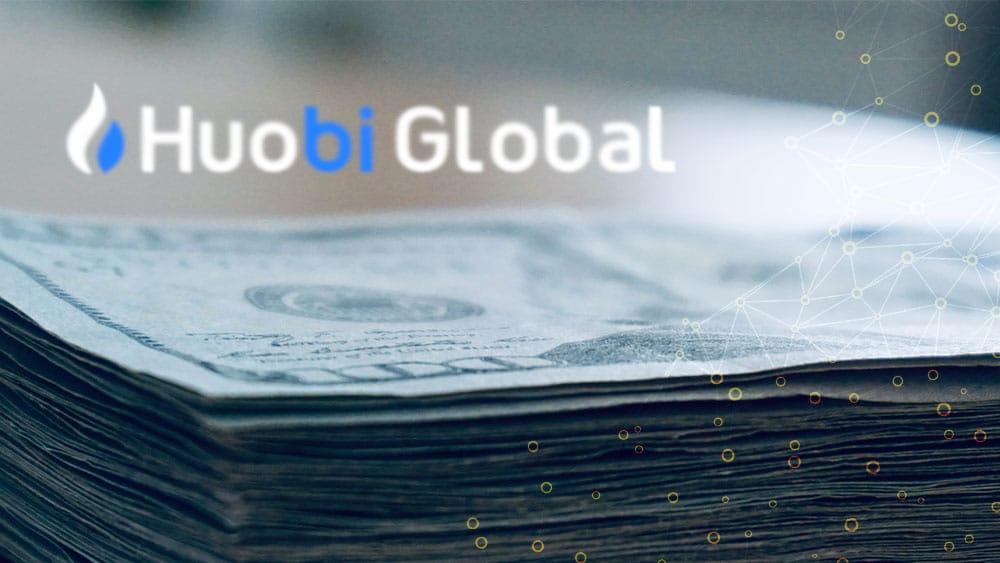 Pila de dolares y logo de Huobi Global.