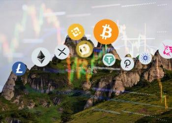 litecoin, ether xrp, dogecoin, bitcoin, binance coin, tether, polkadot, cardano y uniswap en la cima de una montaña.