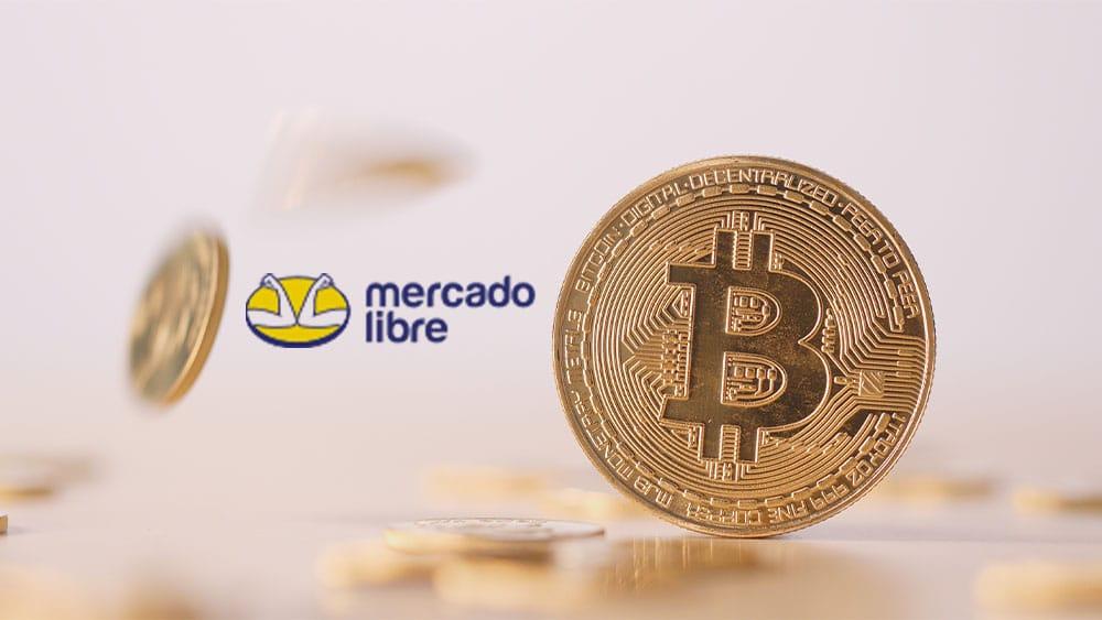 Bitcoins y logo de Mercado Libre.