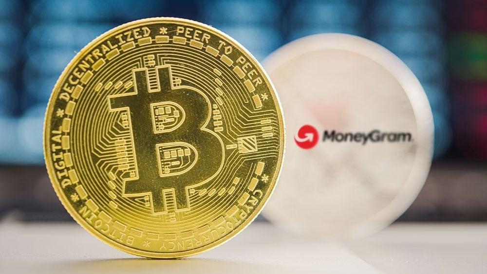 Bitcoin con logo de MoneyGram.