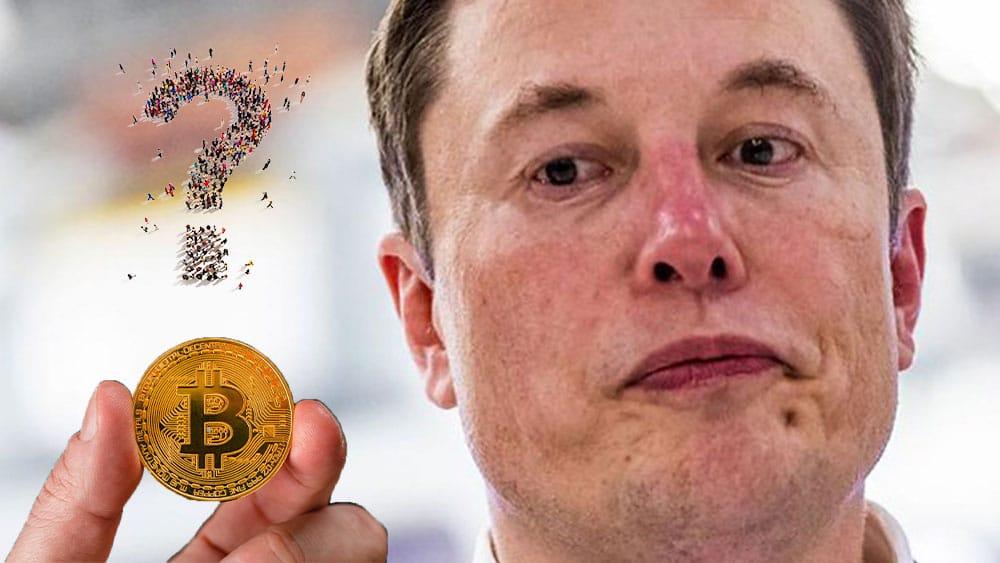Elon Musk y bitcoin con signo de interrogación.