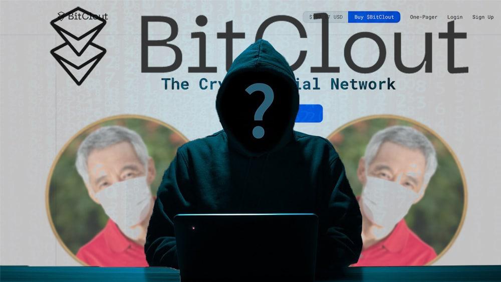 Persona desconocida en computadora con página de BitClout y tokens del Lee Hsien Loong en el fondo. Composición por CriptoNoticias. BitClout / bitclout.com; @leehsienloong / twitter.com; DarioLoPresti / elements.envato.com; B_A / pixabay.com.