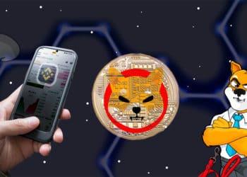 SHIBA Coin y mano con Binance en el celular sobre fondo espacial.