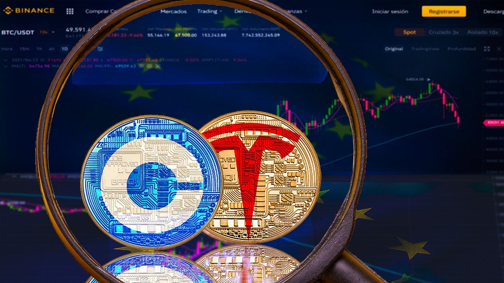 comercio tokens acciones empresas coinbase tesla europa binance