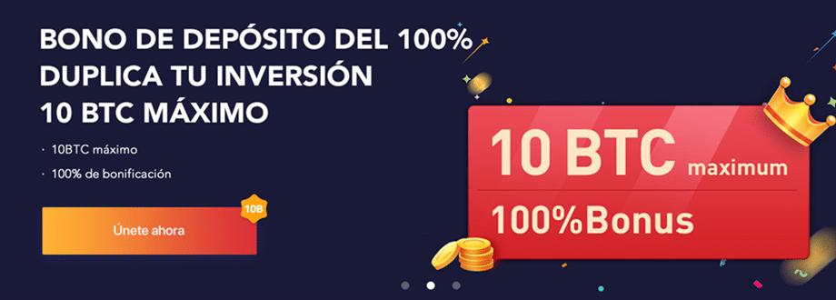 Bono de depósito del 100% de Bexplus, máximo 10 BTC.