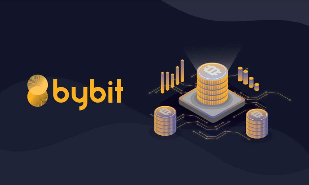Logo de Bybit Exchange al lado de pilas de bitcoins