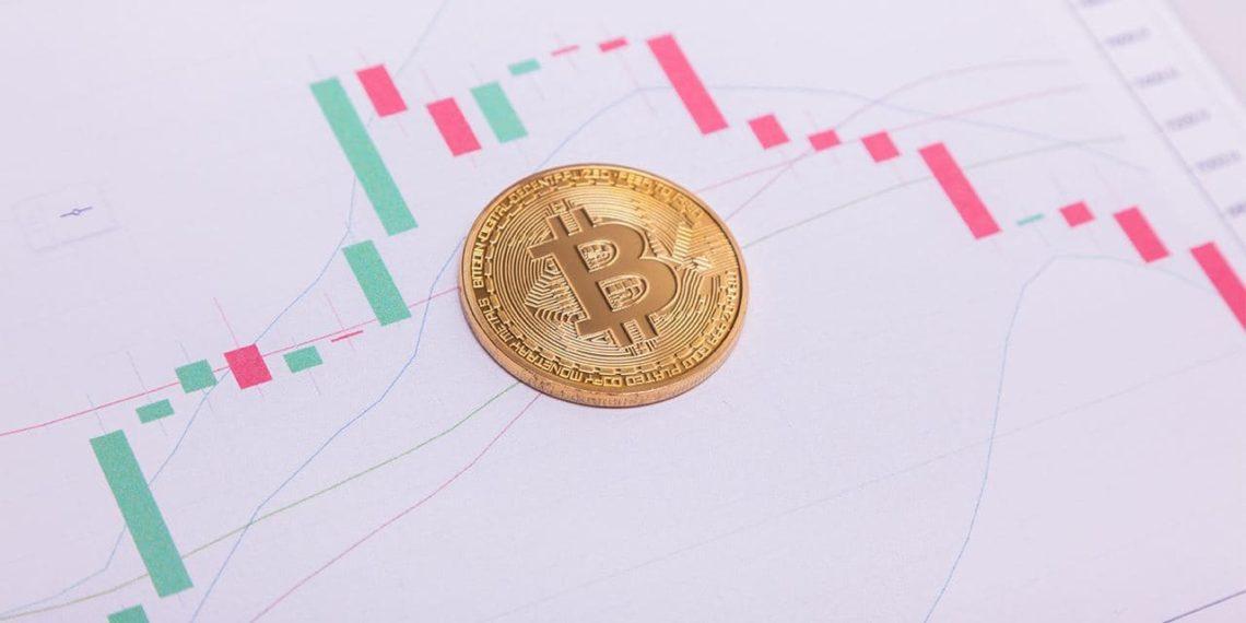 Moneda Bitcoin sobre gráfico de precio en descenso