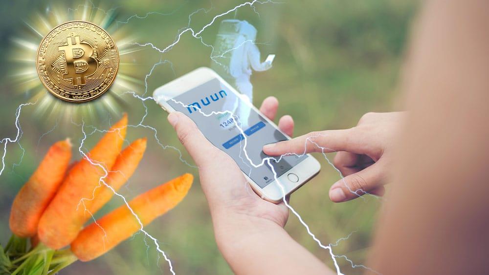 Teléfono con app de Muun, logo y astronauta holográfico, Bitcoin irradiando relámpagos que representan Lightning y zanahorias que representan Taproot.