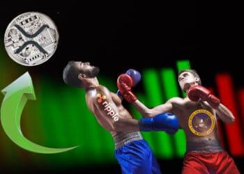 Representación con boxeadores de SEC golpeando a Ripple y flecha verde hacia arroba con XRP.