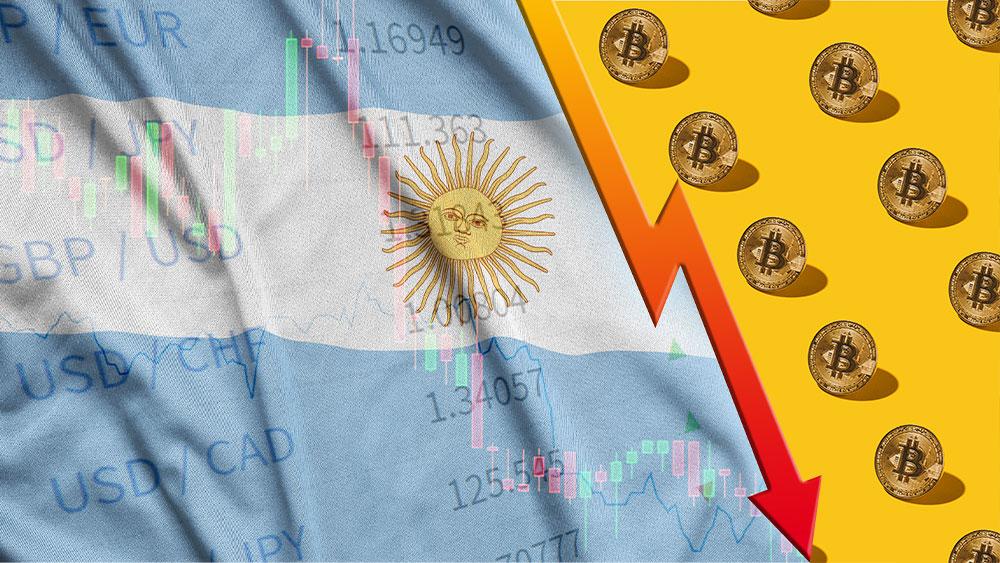 Bandera de Argentina, bitcoins y gráfico bursátil en picada.